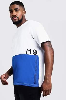 boohoo Big And Tall Colour Block T-Shirt