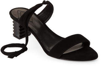 Aperlaï Black Caye Suede Ankle-Wrap Sandals