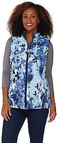 Denim & Co. Printed Reversible Vest withPockets