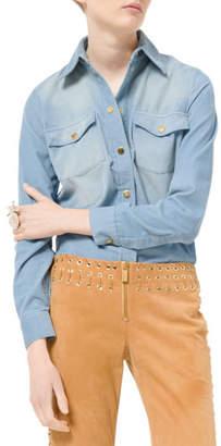 Michael Kors Pincord Snap-Front Long-Sleeve Shirt