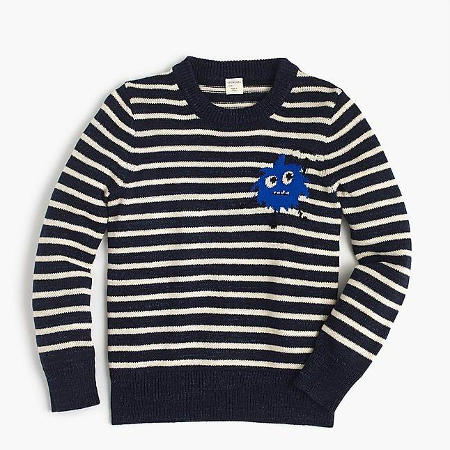 Boys' striped Max the Monster cotton crewneck sweater