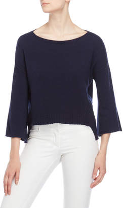 Atos Lombardini Navy Pointelle Step Hem Sweater