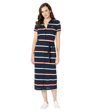 Lacoste Short Sleeve Ribbed Cotton Striped Polo Dress