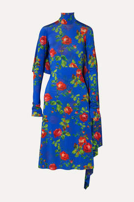 Vetements Open-back Draped Floral-print Stretch-crepe Dress - Blue