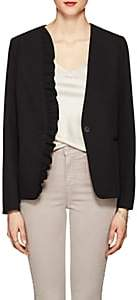 Barneys New York WOMEN'S RUFFLED STRETCH-TWILL ONE-BUTTON BLAZER - BLACK SIZE S 00505056346947