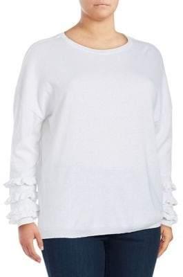 Lord & Taylor Plus Long Ruffle Sleeve Sweater