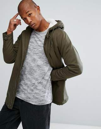 Troy Fishtail Cotton Parka with Teddy Lining