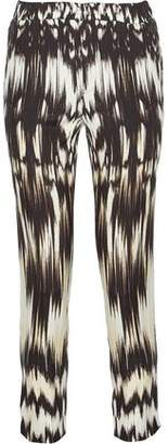 Roberto Cavalli Cropped Printed Silk-Blend Tapered Pants