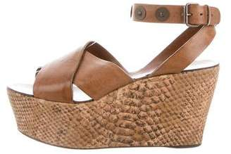 Lanvin Embossed Leather Wedge Sandals