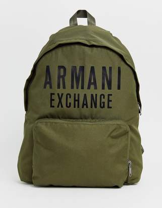 Armani Exchange nylon logo backpack in khaki
