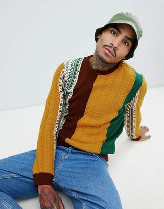 Asos DESIGN patchwork fairisle and cable knit sweater in burgundy and mustard