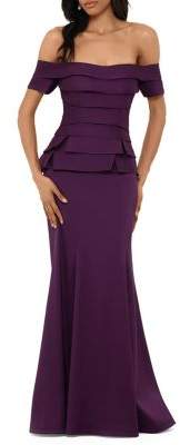 Xscape Evenings Off-The-Shoulder Tiered Gown