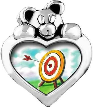 GiftJewelryShop red arrow target Purple Amethyst Crystal February Birthstone I Love You Heart Care Bear Charm Beads Bracelets