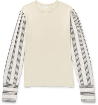 Dries Van Noten Striped Poplin-Trimmed Cotton-Jersey Top