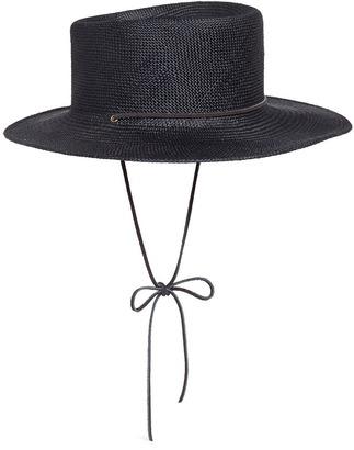 'Telescope' leather strap Panama straw hat