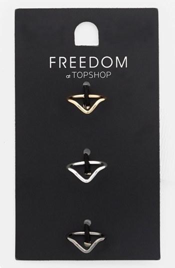Topshop 'Fine V' Midi Rings (Set of 3)