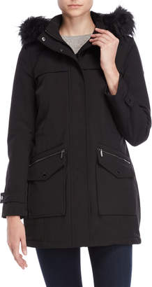 DKNY Faux Fur Trim Softshell Coat