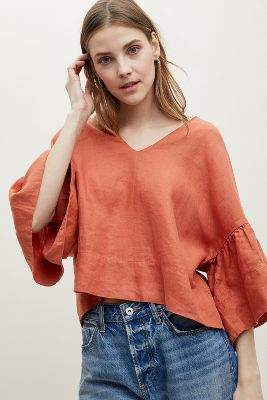 Anthropologie Dora Linen Top