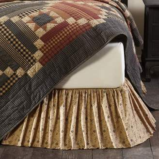 Ashton & Willow Natural Tan Primitive Bedding Maisie Cotton Split Corners Gathered Floral / Flower King Bed Skirt