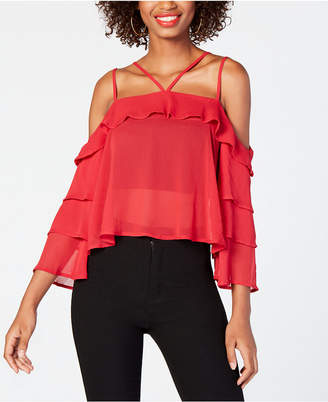 Material Girl Juniors' Ruffled Cold-Shoulder Top