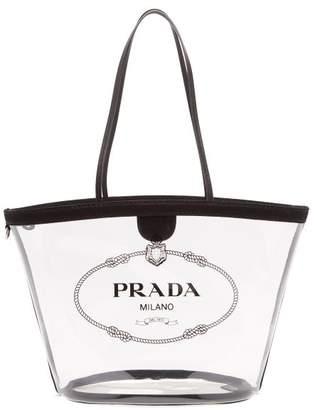 35038db6f722 Prada Logo Print Clear Pvc Tote - Womens - Black