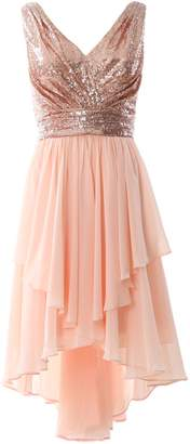 MACloth Women Straps V Neck Sequin Chiffon High Low Prom Dress Formal Party Gown