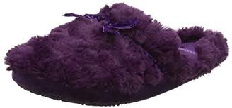 Isotoner Women's Fur Mule with Ribbon Slippers Open Back (Purple), 39 EU
