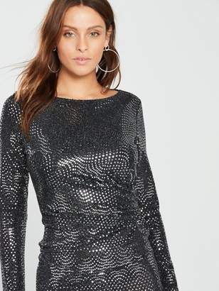 Wallis Wave Sparkle Dress - Silver