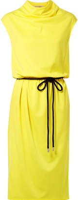 Marc Jacobs Belted Draped Jersey Midi Dress - Yellow