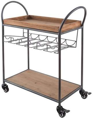 Artland Wood/Metal Bar Cart with Storage Shelves, Brown