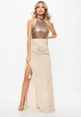 Missguided Bridesmaid Nude Sequin Choker Neck Chiffon Maxi Dress
