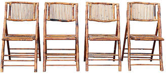 One Kings Lane Vintage Faux-Bamboo Folding Chairs - Set of 4 - Something Vintage