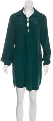 Frame Silk Lace-Up Dress Green Silk Lace-Up Dress