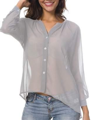9fb1381c BIUBIONG Women Long Sleeve Chiffon Button Down V Neck Loose Fit Blouse Shirt