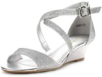 DREAM PAIRS Jones New Women Fashion Wear Summer Crossover Thong Design Low Wedge Dress Pumps Sandals Size 10