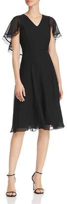 Nanette Lepore nanette Chiffon Fit-and-Flare Cape Dress
