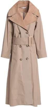 Oscar de la Renta Leather-Trimmed Cotton-Twill Trench Coat