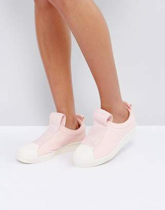 adidas Pink Superstar Slip On Trainers With Bold Strap
