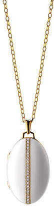 Monica Rich Kosann 18K Gold Diamond-Striped Ceramic Locket Necklace