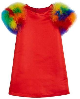 Charabia Elena A-Line Dress w/ Multicolored Feather Sleeves, Size 10-12
