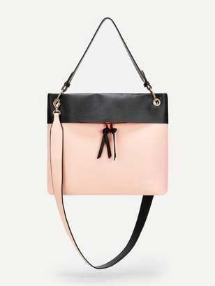 Shein Double Zipper Color-block Satchel Bag