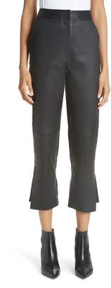 Yigal Azrouel Leather Front Crop Flare Pants