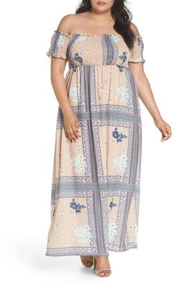 Glamorous Patchwork Print Off the Shoulder Maxi Dress (Plus Size)