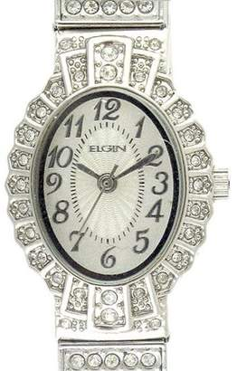 Elgin Women's Crystal Accent Silver-Tone Dressy Expansion Watch