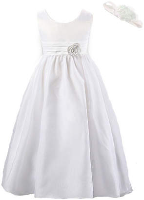 afee9a4936a1 Mi Amore Gigi White Special Occasion Dress with Attached Removable Flower  and Flower Headband