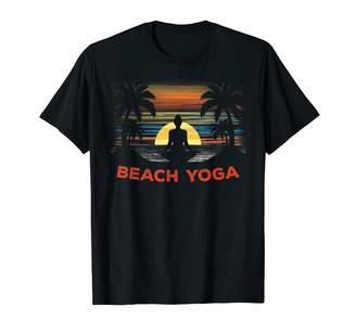 Yoga On Beach Tshirts Mind And Body Gifts Beach Yoga Lotus Pose Mind Body Barefoot Retro Sunset Tshirt