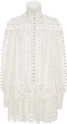 Zimmermann Moncur Beaded Cotton-Blend Mini Dress
