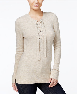kensie Lace-Up High-Low Sweater, A Macy's Exclusive Style $79 thestylecure.com