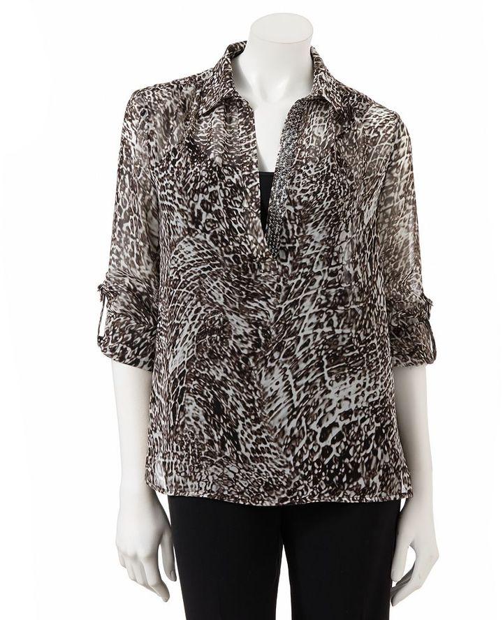 JLO by Jennifer Lopez snakeskin roll-tab chiffon blouse