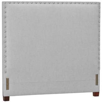 Pottery Barn Teen Raleigh Teen Square Nailhead Headboard, Queen, Linen Blend, Gray